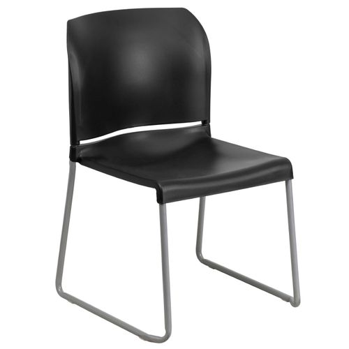 TOUGH ENOUGH Series 880 lb. Capacity Black Full Back Contoured Stack Chair with Gray Powder Coated Sled Base