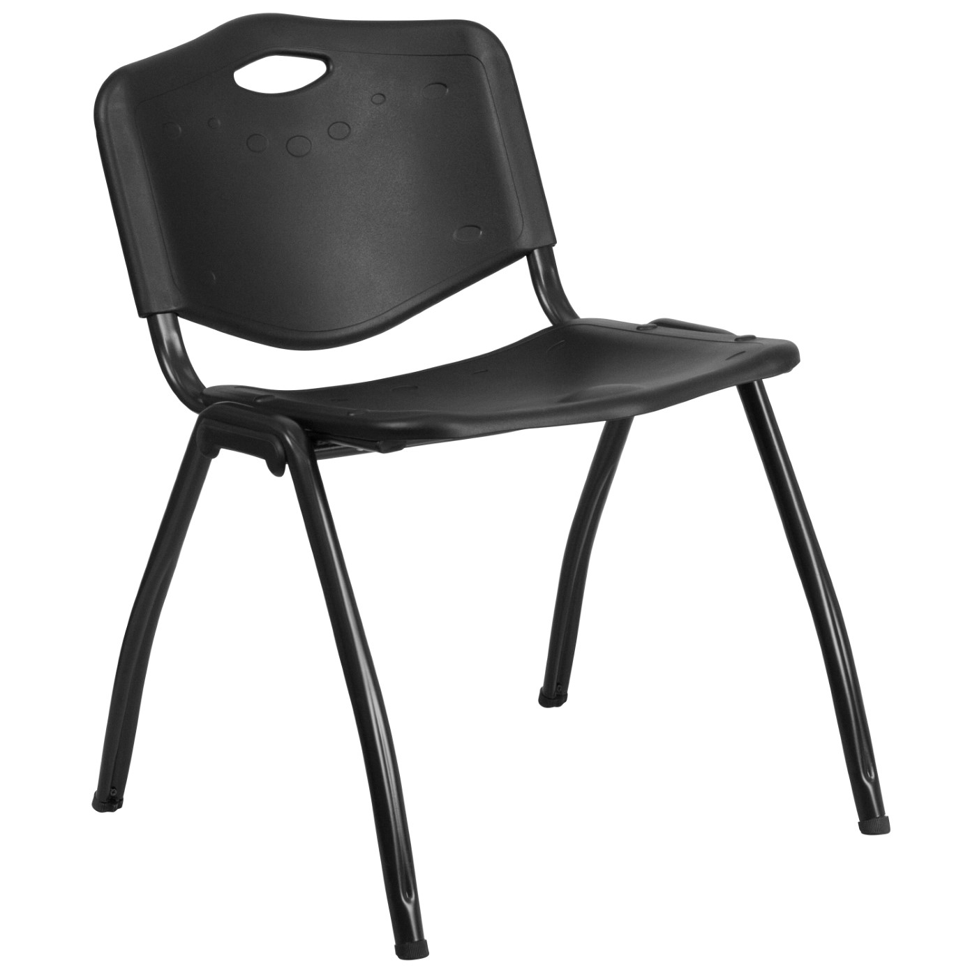 TOUGH ENOUGH Series 880 lb. Capacity Black Plastic Stack Chair