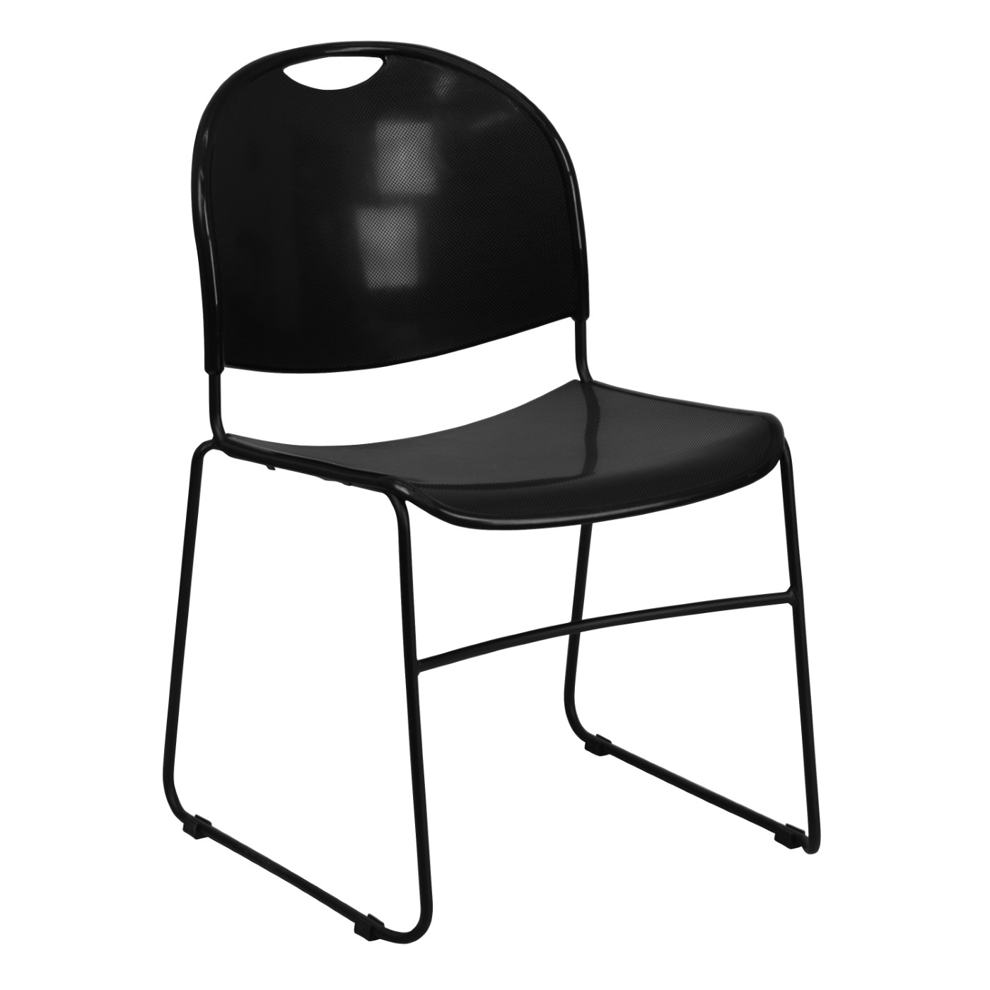 TOUGH ENOUGH Series 880 lb. Capacity Black Ultra-Compact Stack Chair with Black Powder Coated Frame