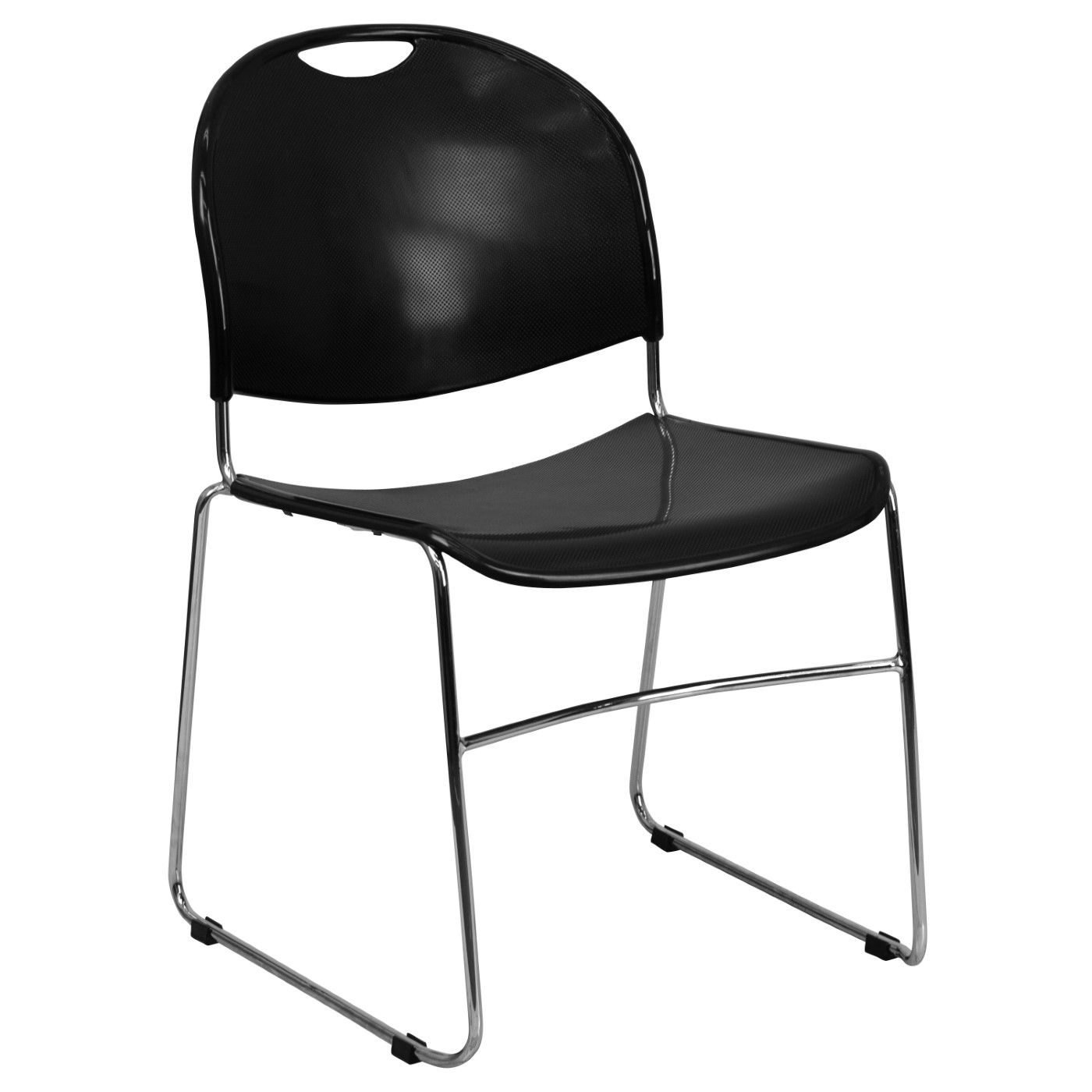 TOUGH ENOUGH Series 880 lb. Capacity Black Ultra-Compact Stack Chair with Chrome Frame
