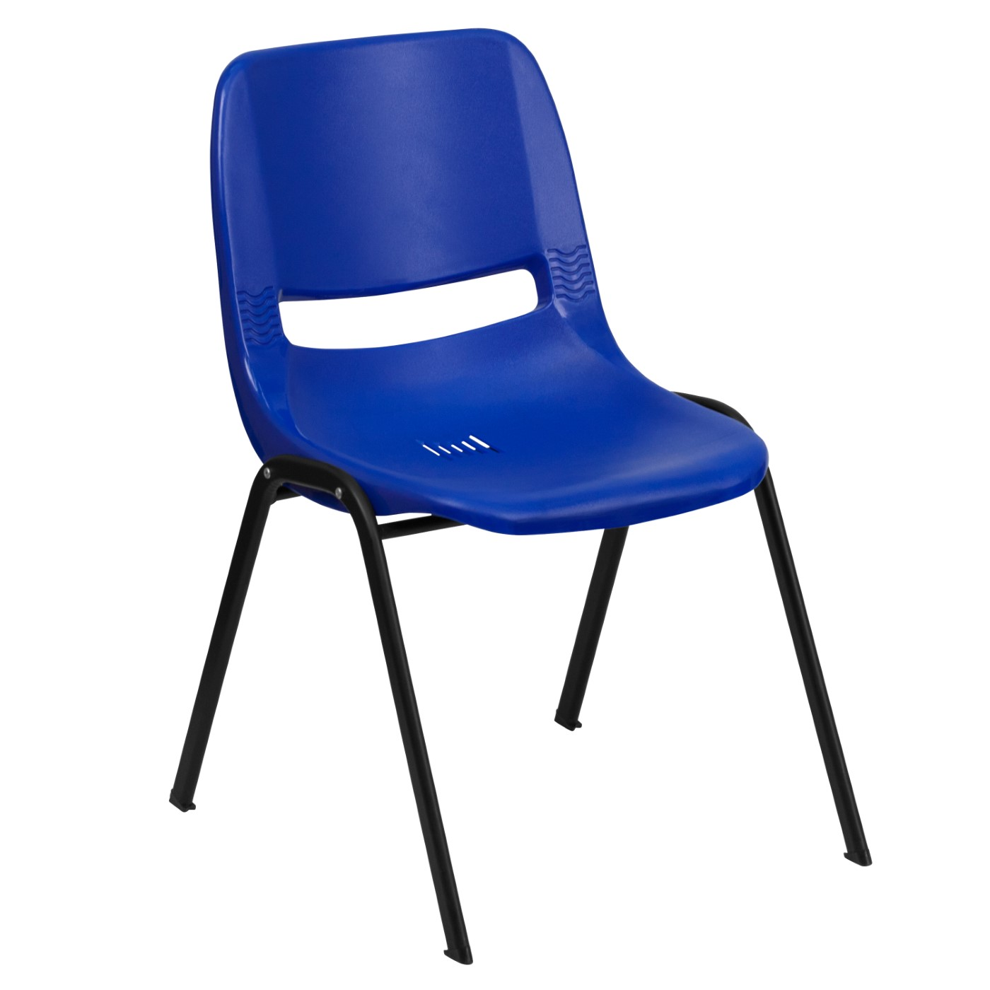 TOUGH ENOUGH Series 880 lb. Capacity Blue Ergonomic Shell Stack Chair with Black Frame