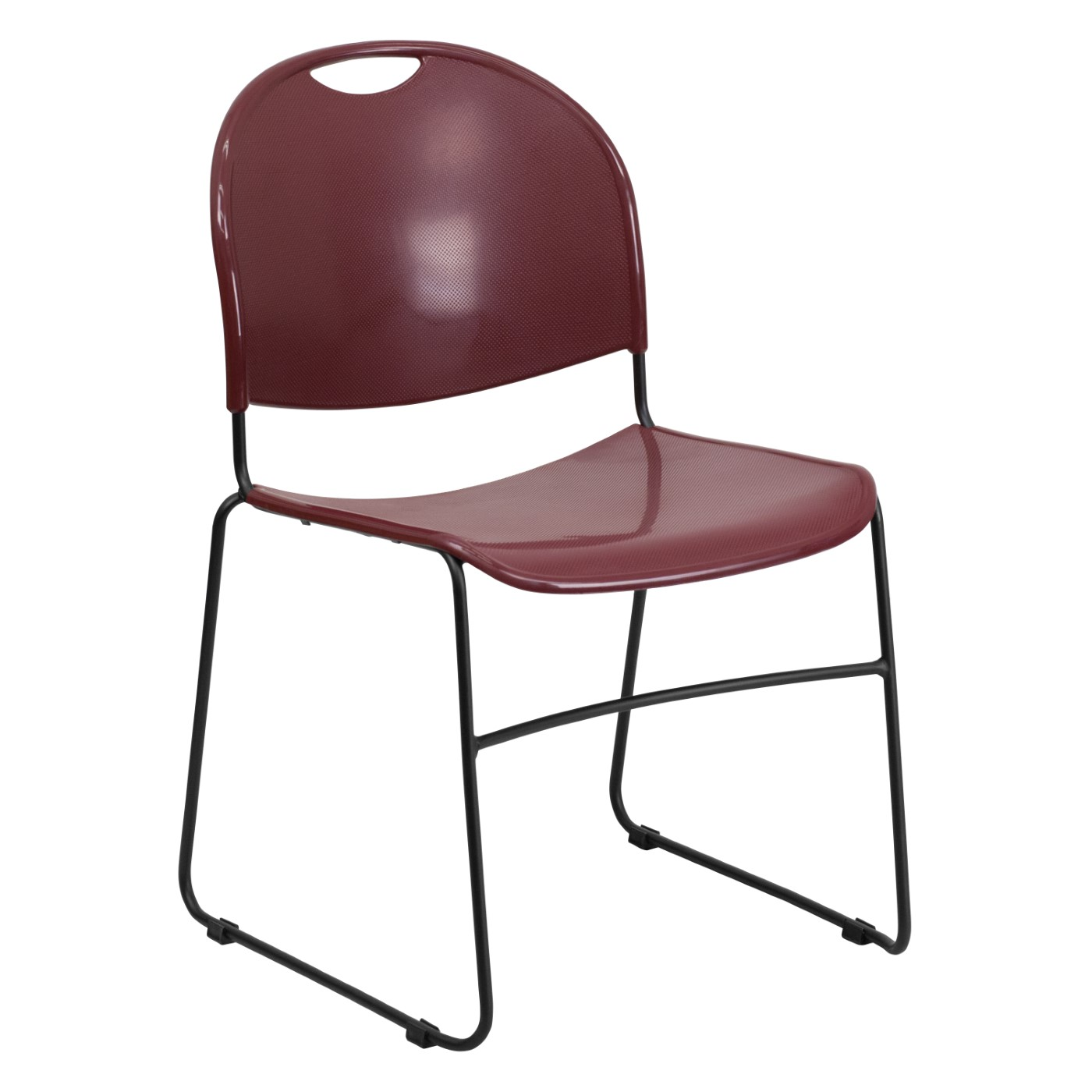 TOUGH ENOUGH Series 880 lb. Capacity Burgundy Ultra-Compact Stack Chair with Black Powder Coated Frame