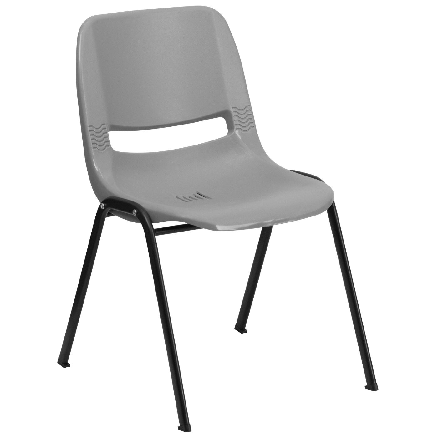TOUGH ENOUGH Series 880 lb. Capacity Gray Ergonomic Shell Stack Chair with Black Frame