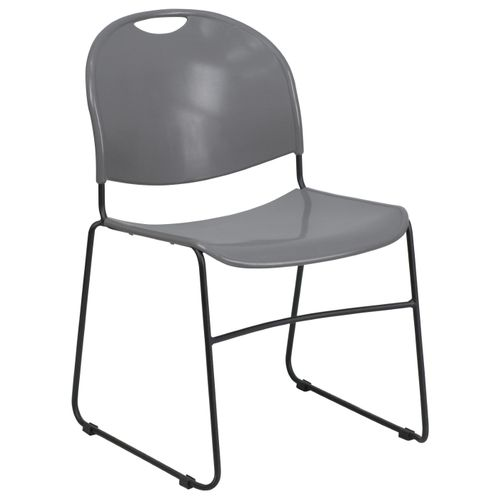 TOUGH ENOUGH Series 880 lb. Capacity Gray Ultra-Compact Stack Chair with Black Powder Coated Frame