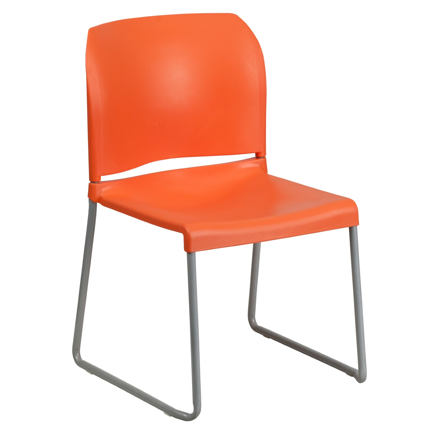 TOUGH ENOUGH Series 880 lb. Capacity Orange Full Back Contoured Stack Chair with Gray Powder Coated Sled Base
