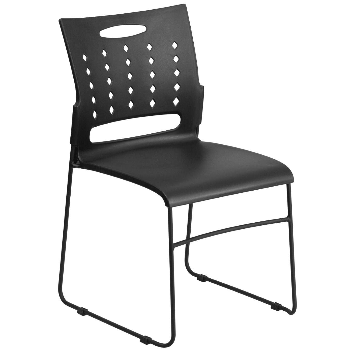 TOUGH ENOUGH Series 881 lb. Capacity Black Sled Base Stack Chair with Air-Vent Back