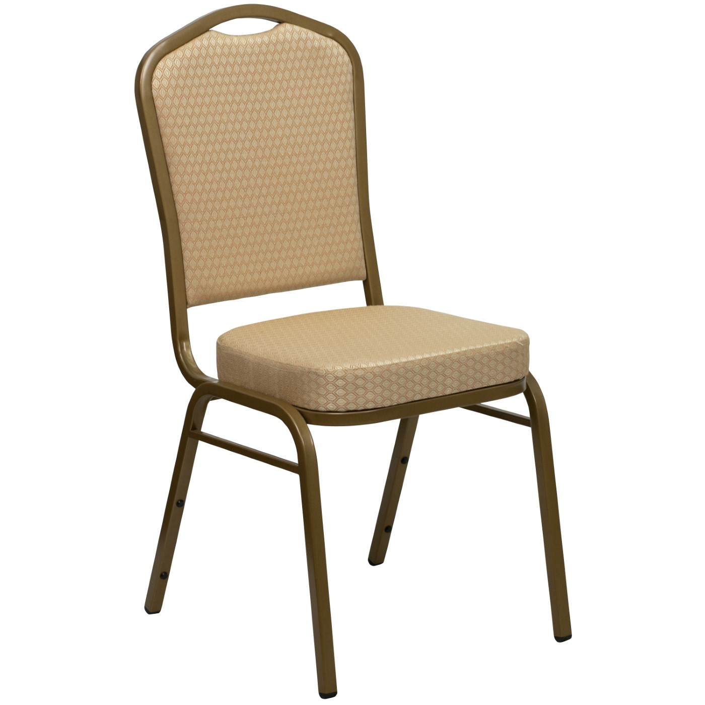 TOUGH ENOUGH Series Crown Back Stacking Banquet Chair in Beige Patterned Fabric - Gold Frame