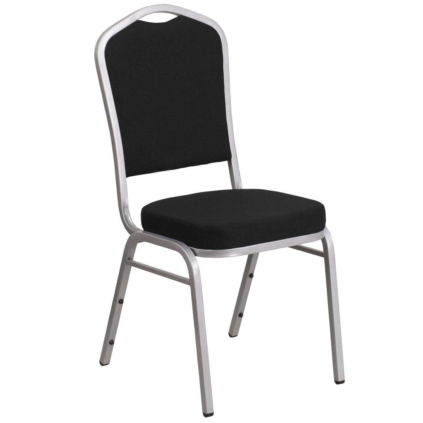 TOUGH ENOUGH Series Crown Back Stacking Banquet Chair in Black Fabric - Silver Frame