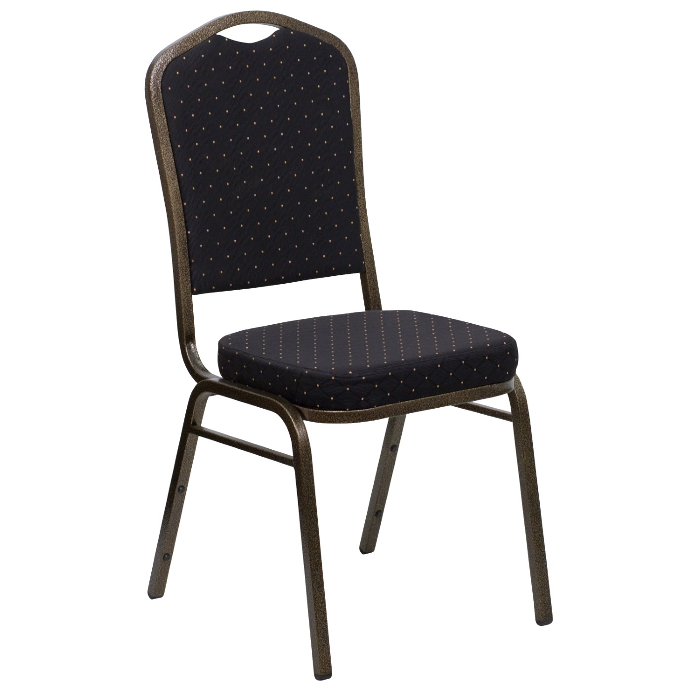 TOUGH ENOUGH Series Crown Back Stacking Banquet Chair in Black Patterned Fabric - Gold Vein Frame