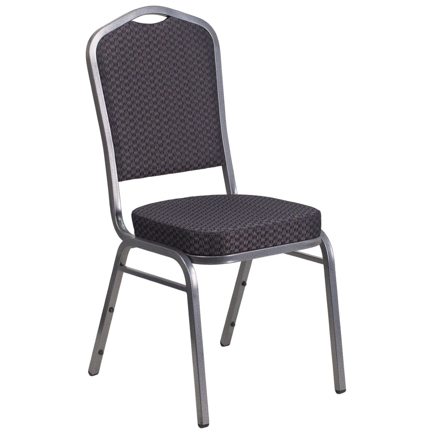 TOUGH ENOUGH Series Crown Back Stacking Banquet Chair in Black Patterned Fabric - Silver Vein Frame