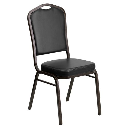 TOUGH ENOUGH Series Crown Back Stacking Banquet Chair in Black Vinyl - Gold Vein Frame