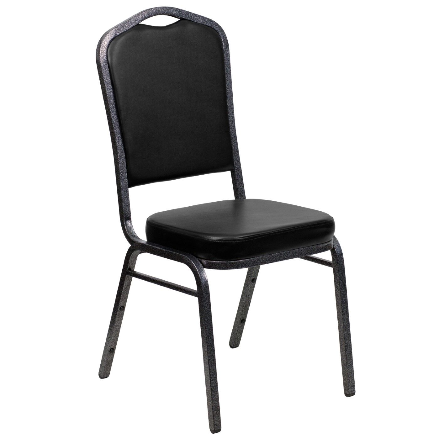TOUGH ENOUGH Series Crown Back Stacking Banquet Chair in Black Vinyl - Silver Vein Frame