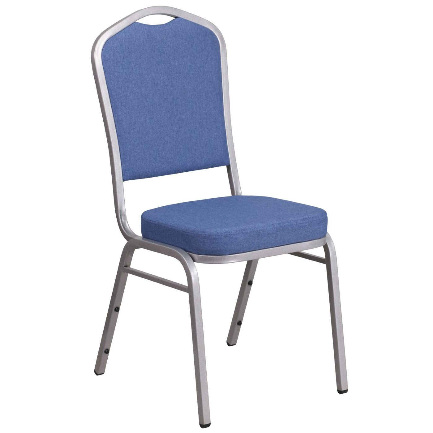 TOUGH ENOUGH Series Crown Back Stacking Banquet Chair in Blue Fabric - Silver Frame