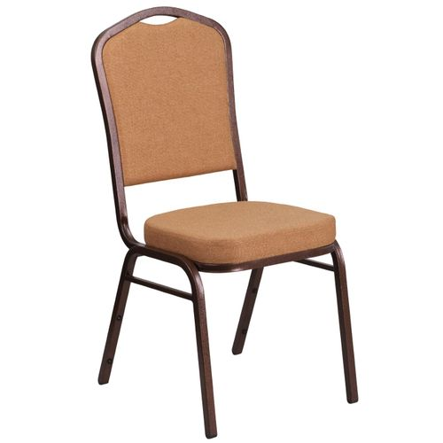 TOUGH ENOUGH Series Crown Back Stacking Banquet Chair in Light Brown Fabric - Copper Vein Frame