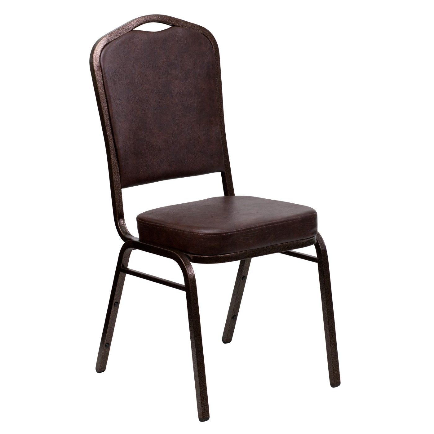 TOUGH ENOUGH Series Crown Back Stacking Banquet Chair in Brown Vinyl - Copper Vein Frame