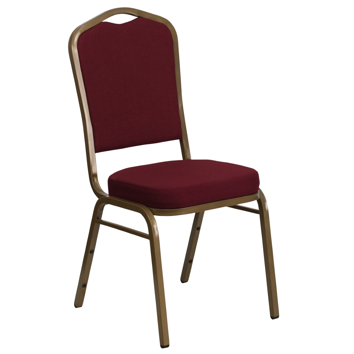 TOUGH ENOUGH Series Crown Back Stacking Banquet Chair in Burgundy Fabric - Gold Frame