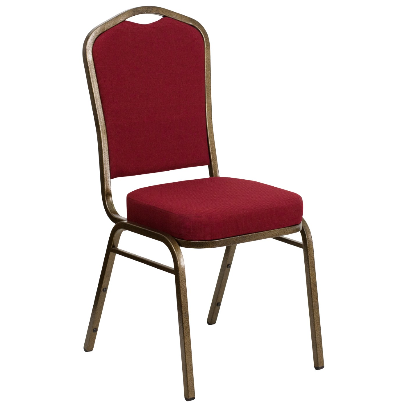 TOUGH ENOUGH Series Crown Back Stacking Banquet Chair in Burgundy Fabric - Gold Vein Frame