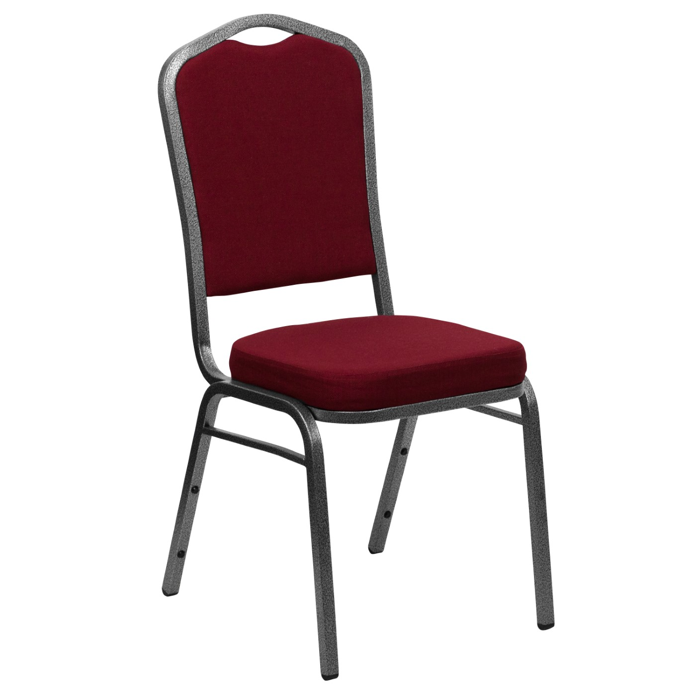 TOUGH ENOUGH Series Crown Back Stacking Banquet Chair in Burgundy Fabric - Silver Vein Frame