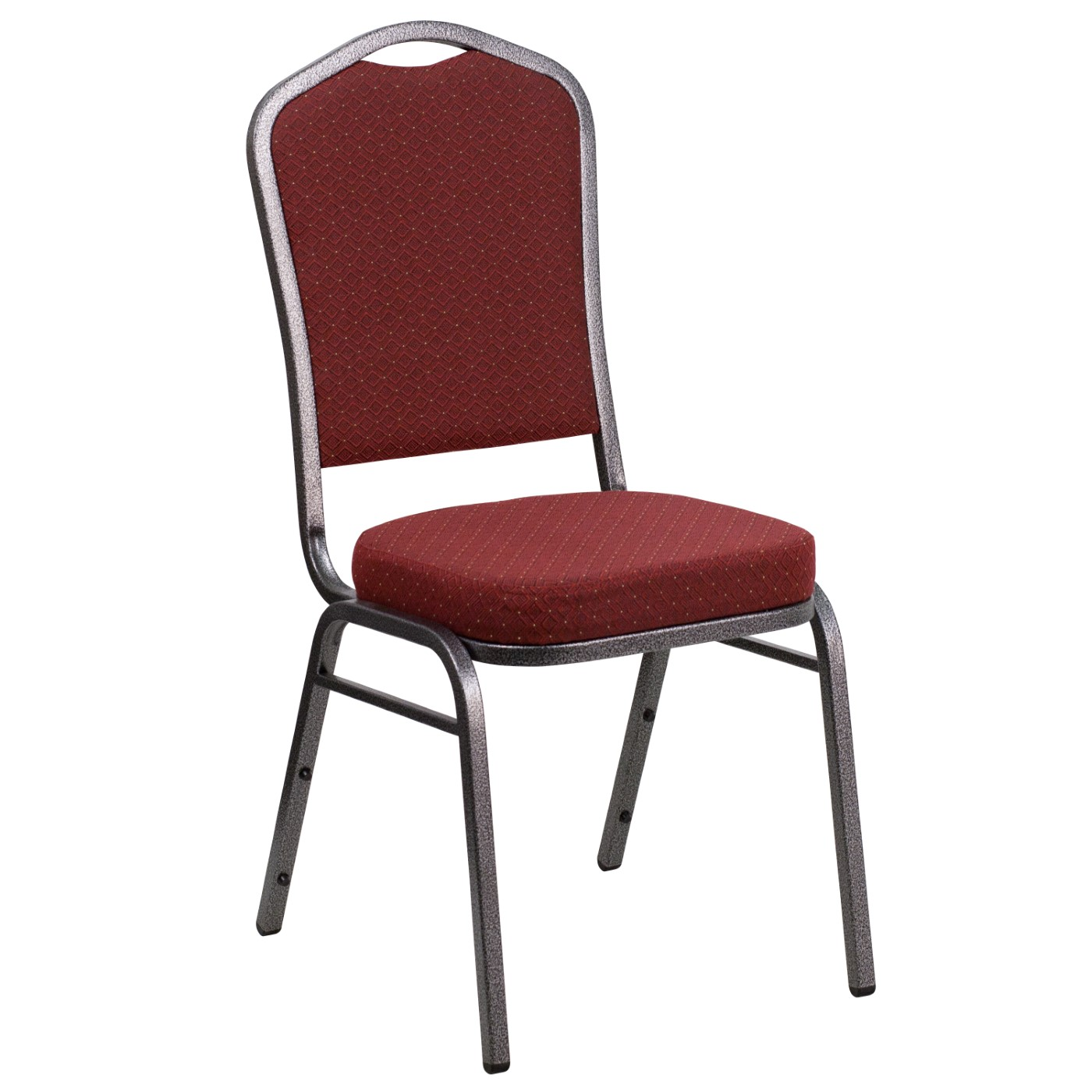 TOUGH ENOUGH Series Crown Back Stacking Banquet Chair in Burgundy Patterned Fabric - Silver Vein Frame