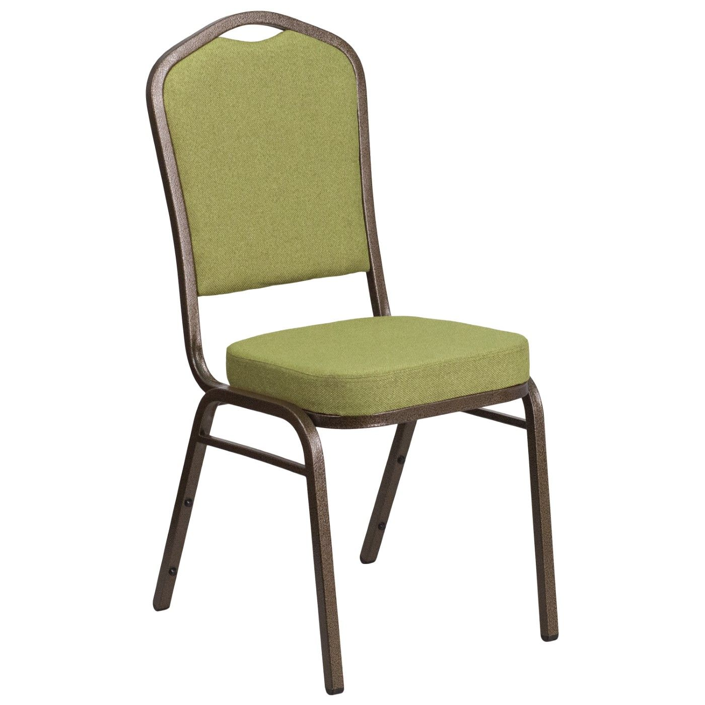 TOUGH ENOUGH Series Crown Back Stacking Banquet Chair in Moss Fabric - Gold Vein Frame