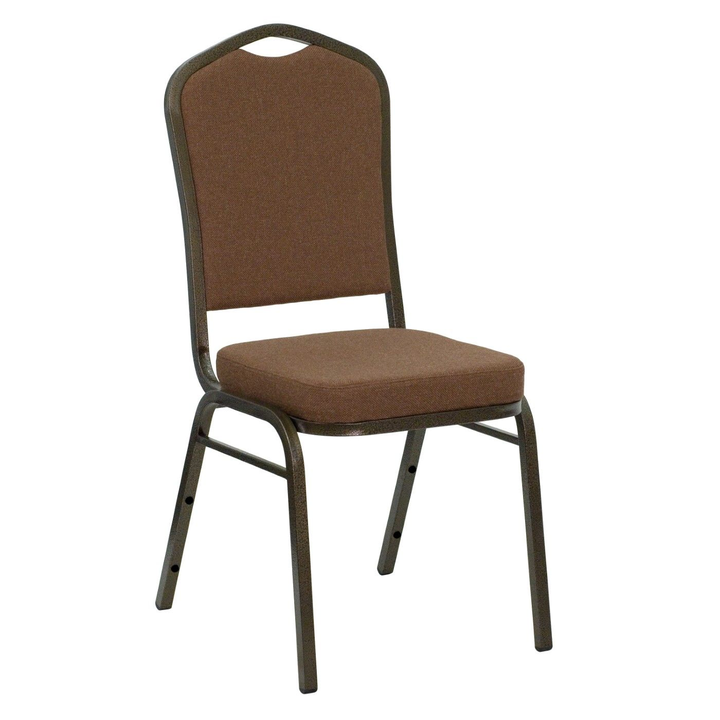 TOUGH ENOUGH Series Crown Back Stacking Banquet Chair in Coffee Fabric - Gold Vein Frame