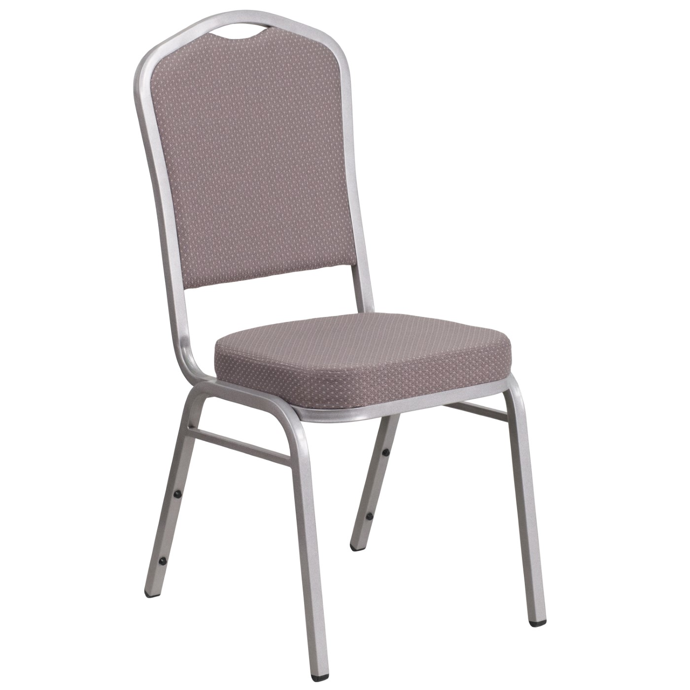 TOUGH ENOUGH Series Crown Back Stacking Banquet Chair in Gray Dot Fabric - Silver Frame