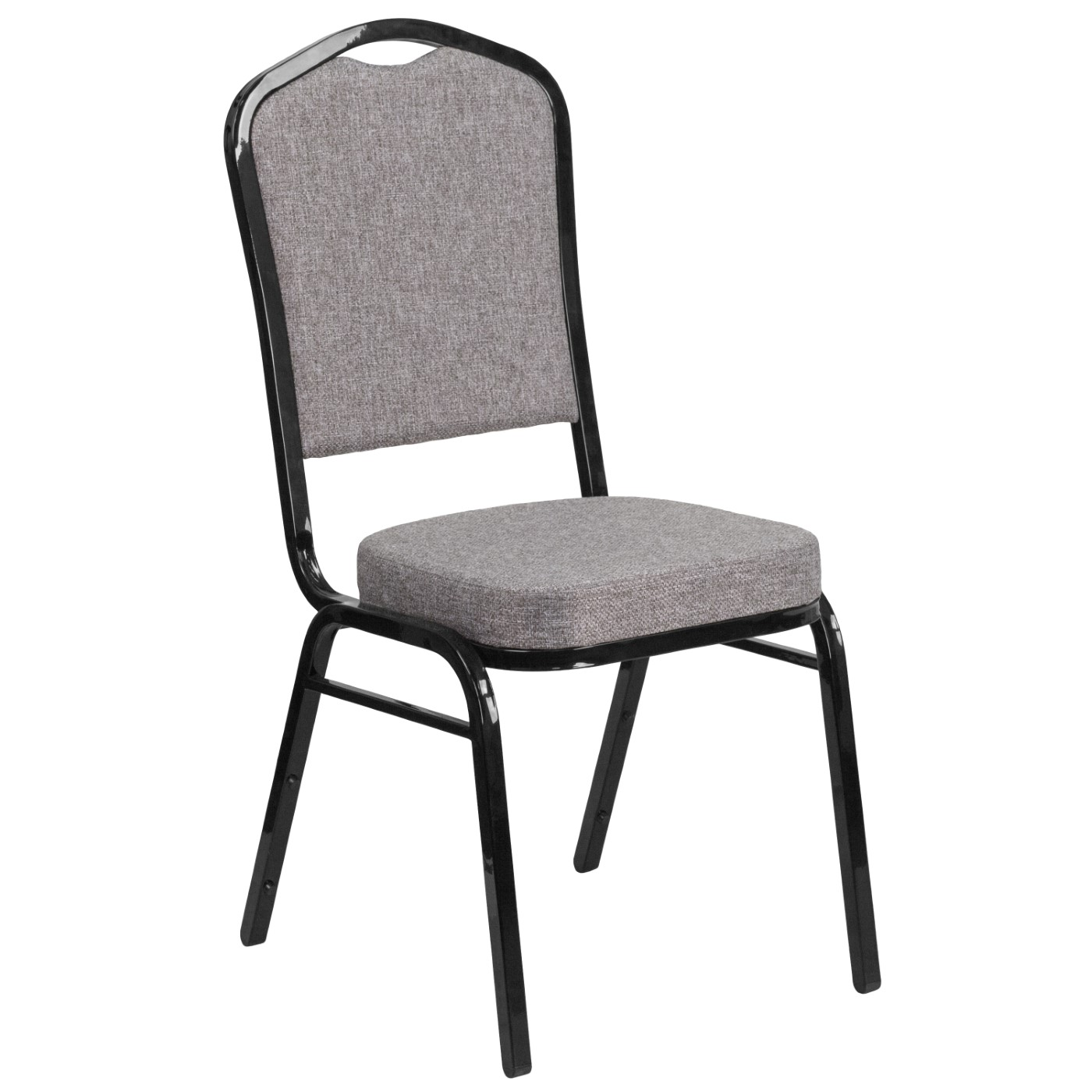 TOUGH ENOUGH Series Crown Back Stacking Banquet Chair in Gray Fabric - Black Frame
