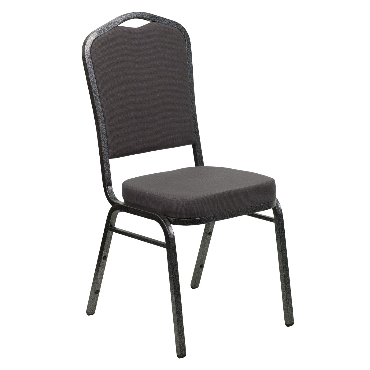 TOUGH ENOUGH Series Crown Back Stacking Banquet Chair in Gray Fabric - Silver Vein Frame