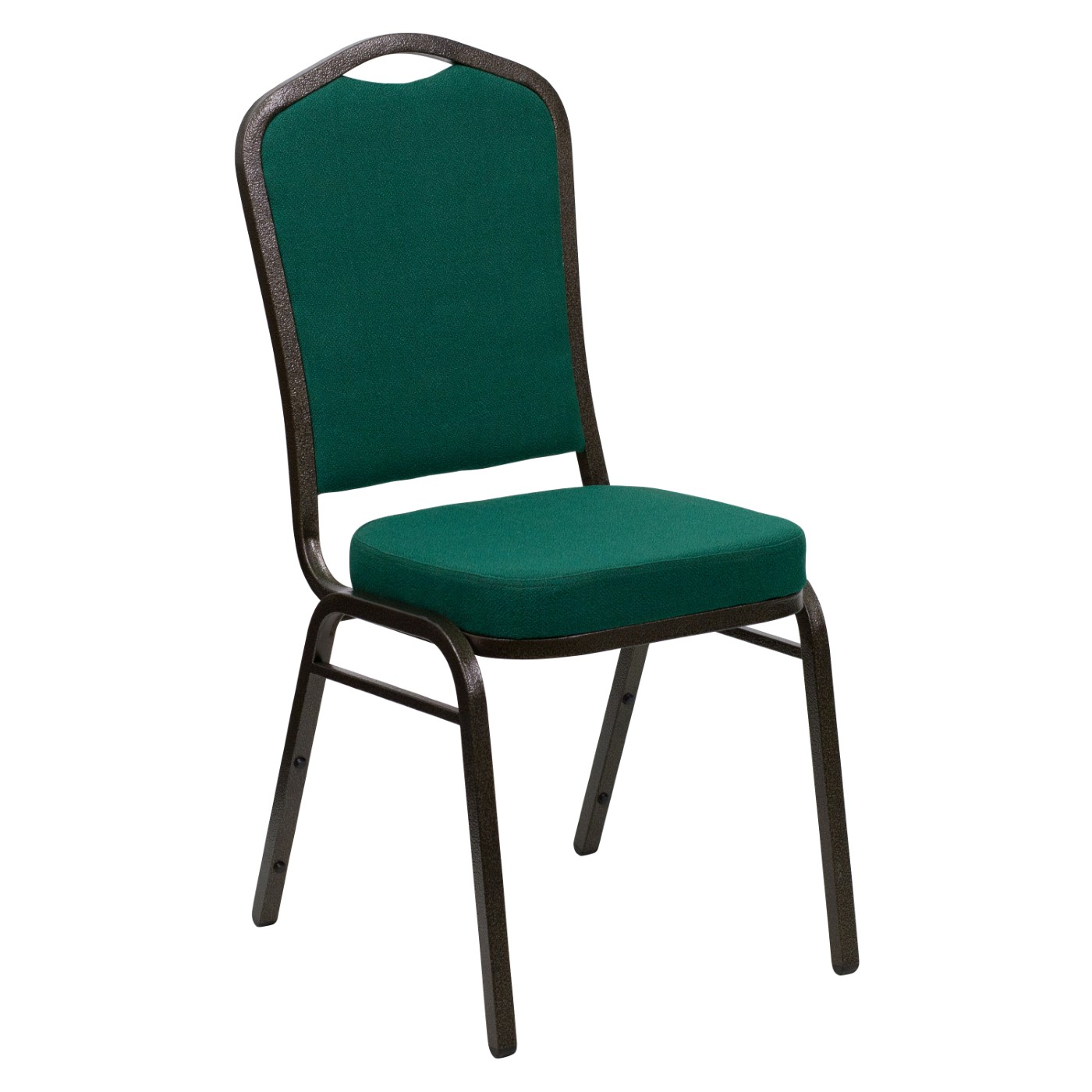 TOUGH ENOUGH Series Crown Back Stacking Banquet Chair in Green Fabric - Gold Vein Frame