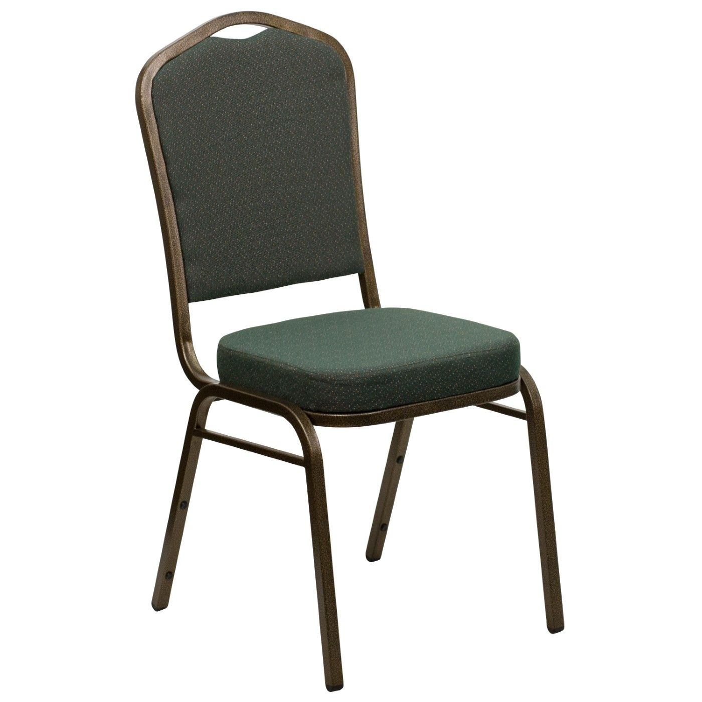 TOUGH ENOUGH Series Crown Back Stacking Banquet Chair in Green Patterned Fabric - Gold Vein Frame