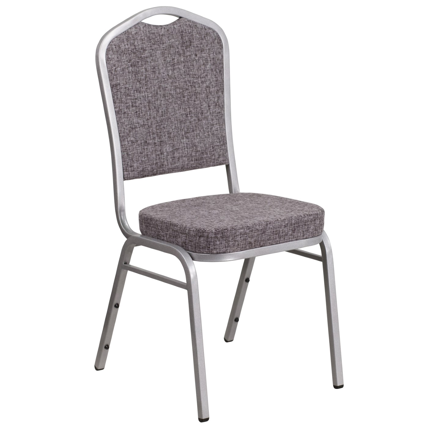 TOUGH ENOUGH Series Crown Back Stacking Banquet Chair in Herringbone Fabric - Silver Frame
