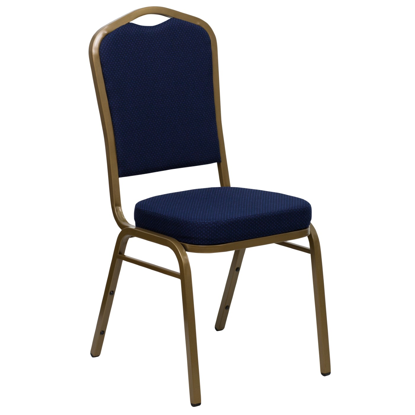 TOUGH ENOUGH Series Crown Back Stacking Banquet Chair in Navy Blue Patterned Fabric - Gold Frame