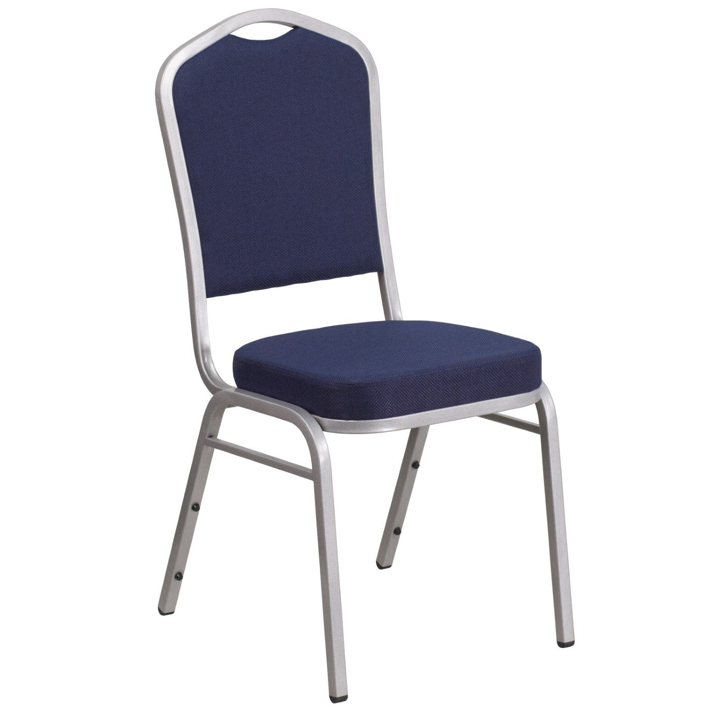 TOUGH ENOUGH Series Crown Back Stacking Banquet Chair in Navy Fabric - Silver Frame