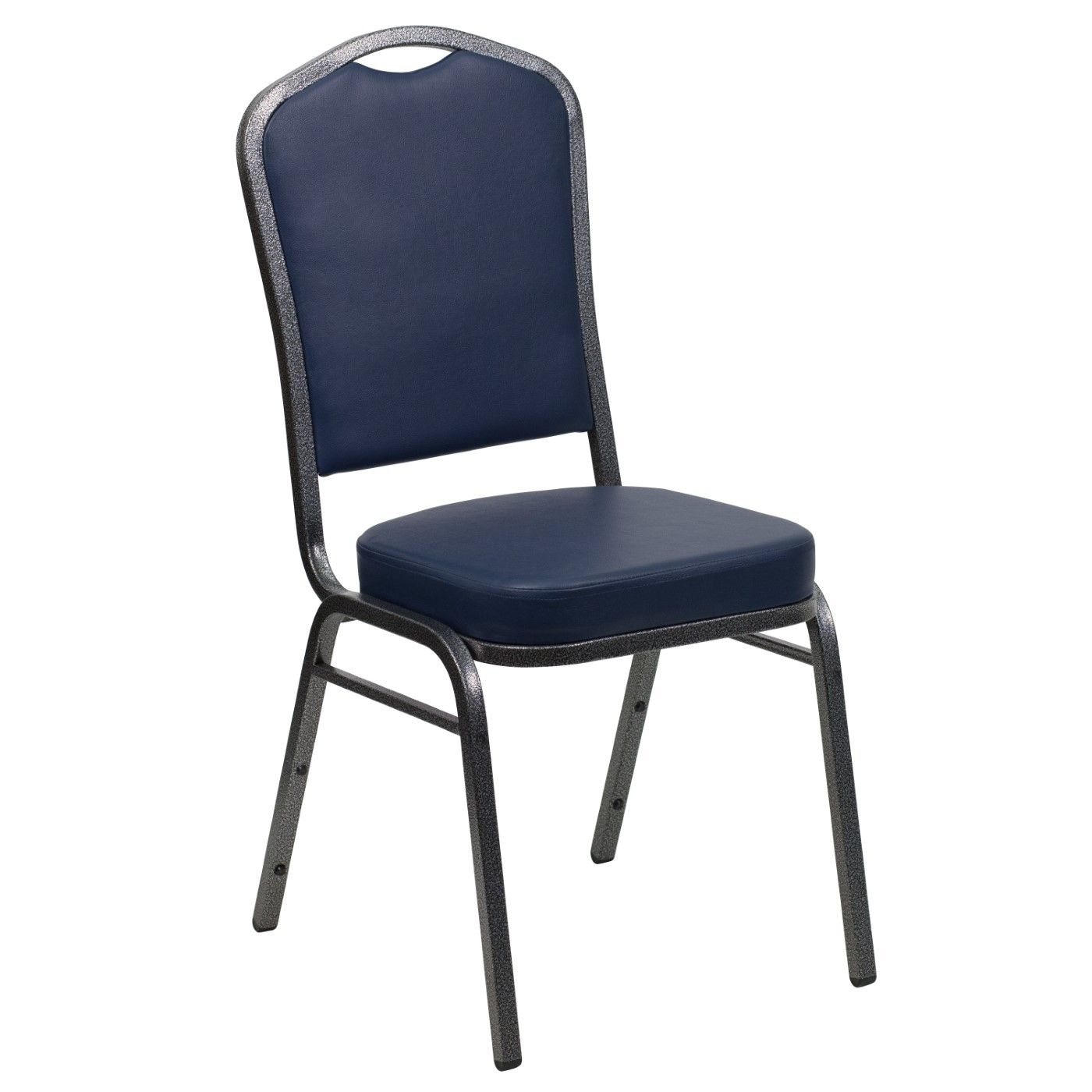 TOUGH ENOUGH Series Crown Back Stacking Banquet Chair in Navy Vinyl - Silver Vein Frame