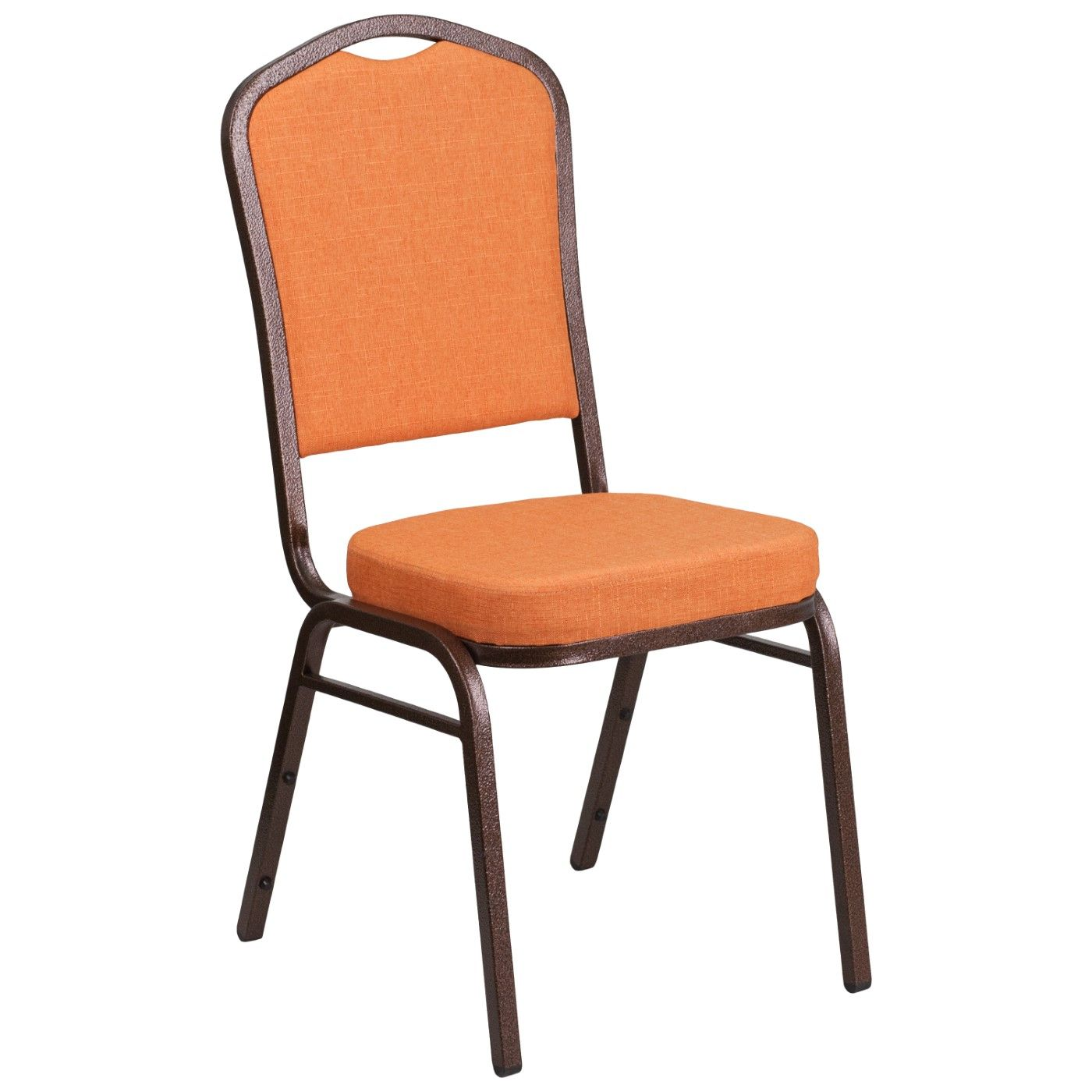 TOUGH ENOUGH Series Crown Back Stacking Banquet Chair in Orange Fabric - Copper Vein Frame