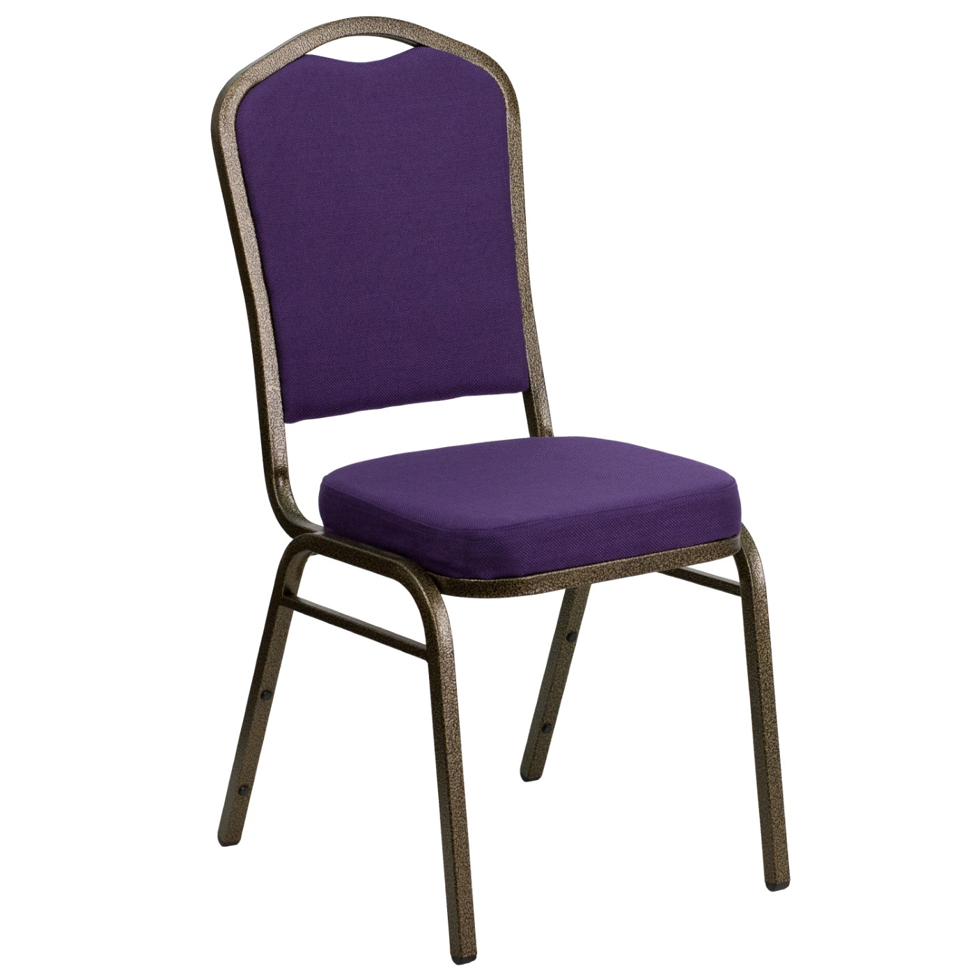 TOUGH ENOUGH Series Crown Back Stacking Banquet Chair in Purple Fabric - Gold Vein Frame