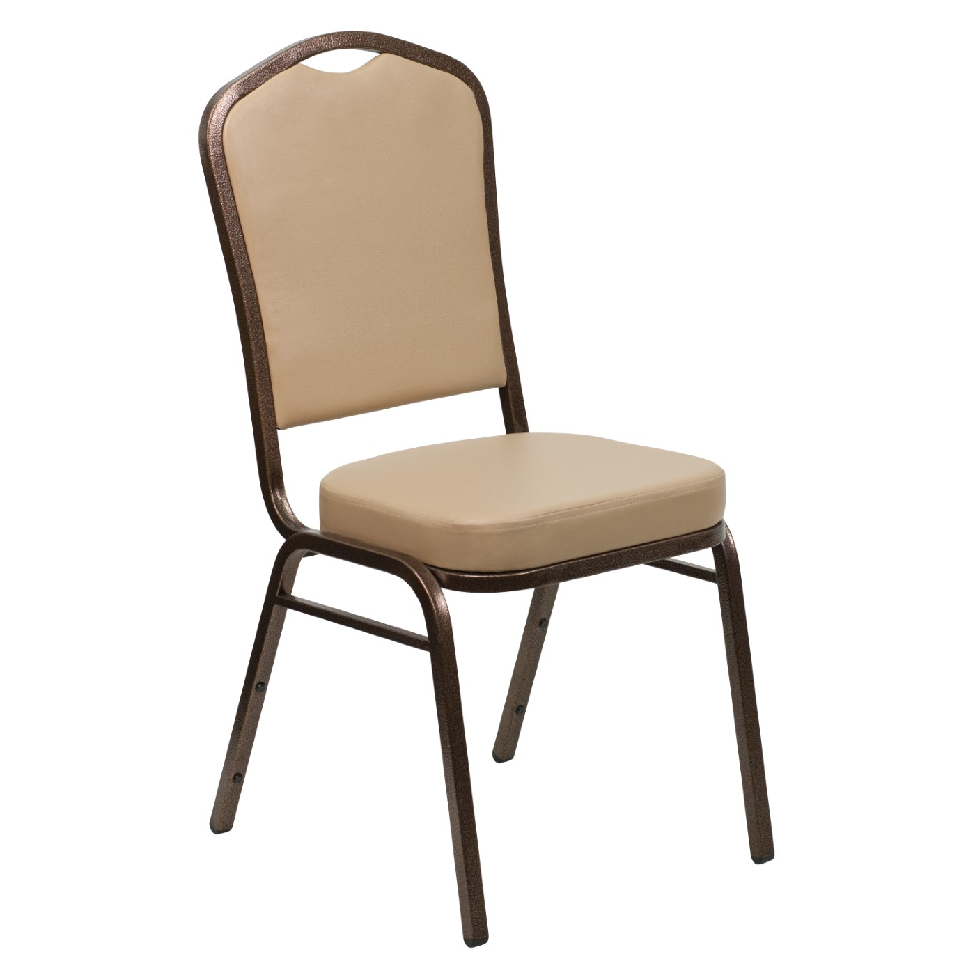 TOUGH ENOUGH Series Crown Back Stacking Banquet Chair in Tan Vinyl - Copper Vein Frame
