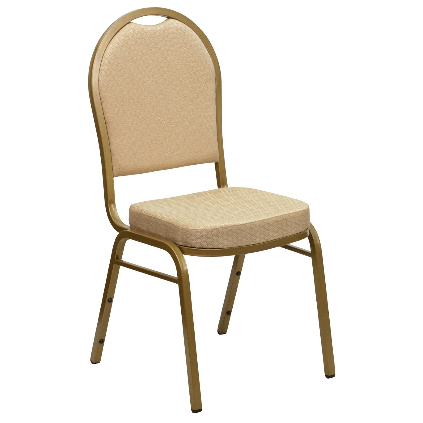 TOUGH ENOUGH Series Dome Back Stacking Banquet Chair in Beige Patterned Fabric - Gold Frame