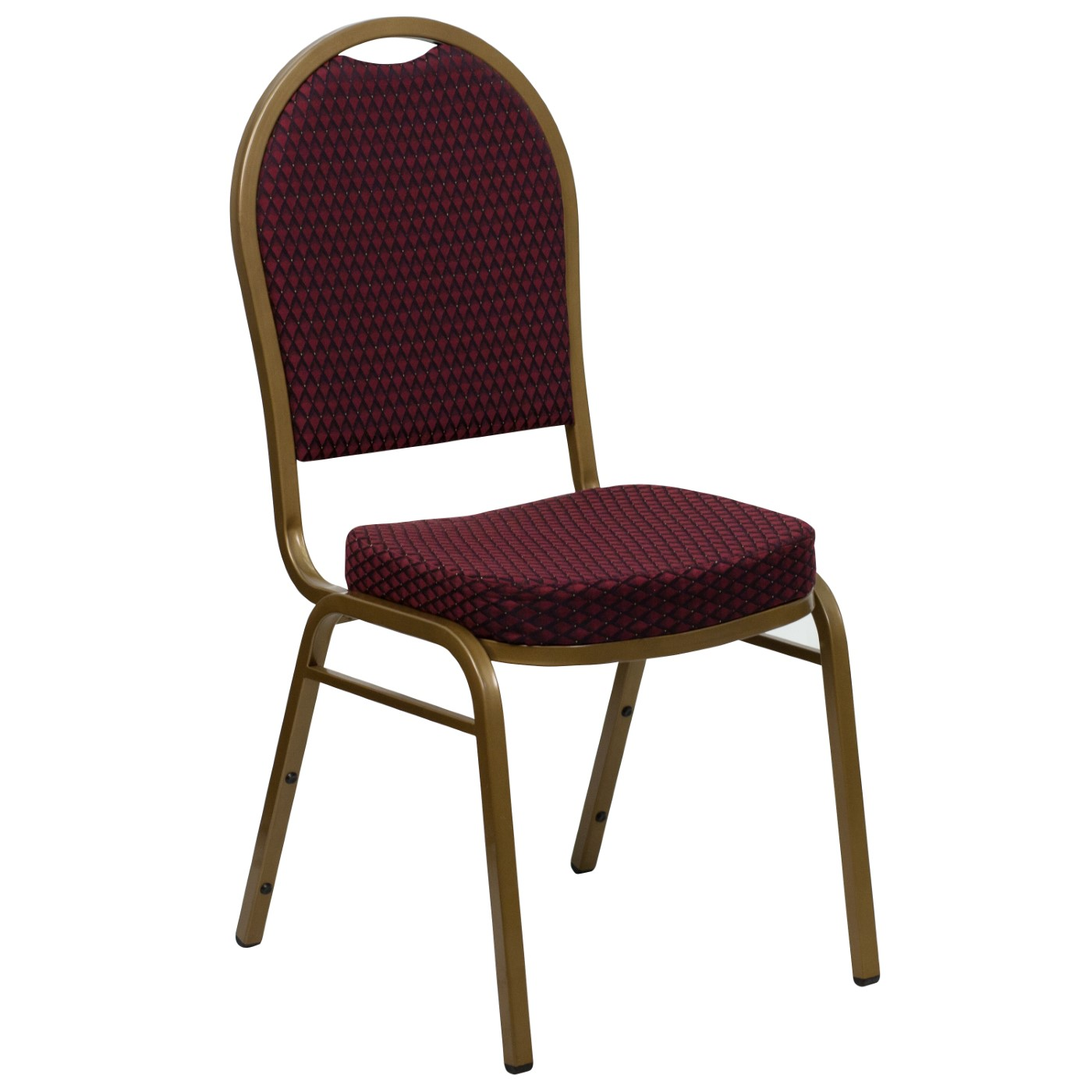 TOUGH ENOUGH Series Dome Back Stacking Banquet Chair in Burgundy Patterned Fabric - Gold Frame