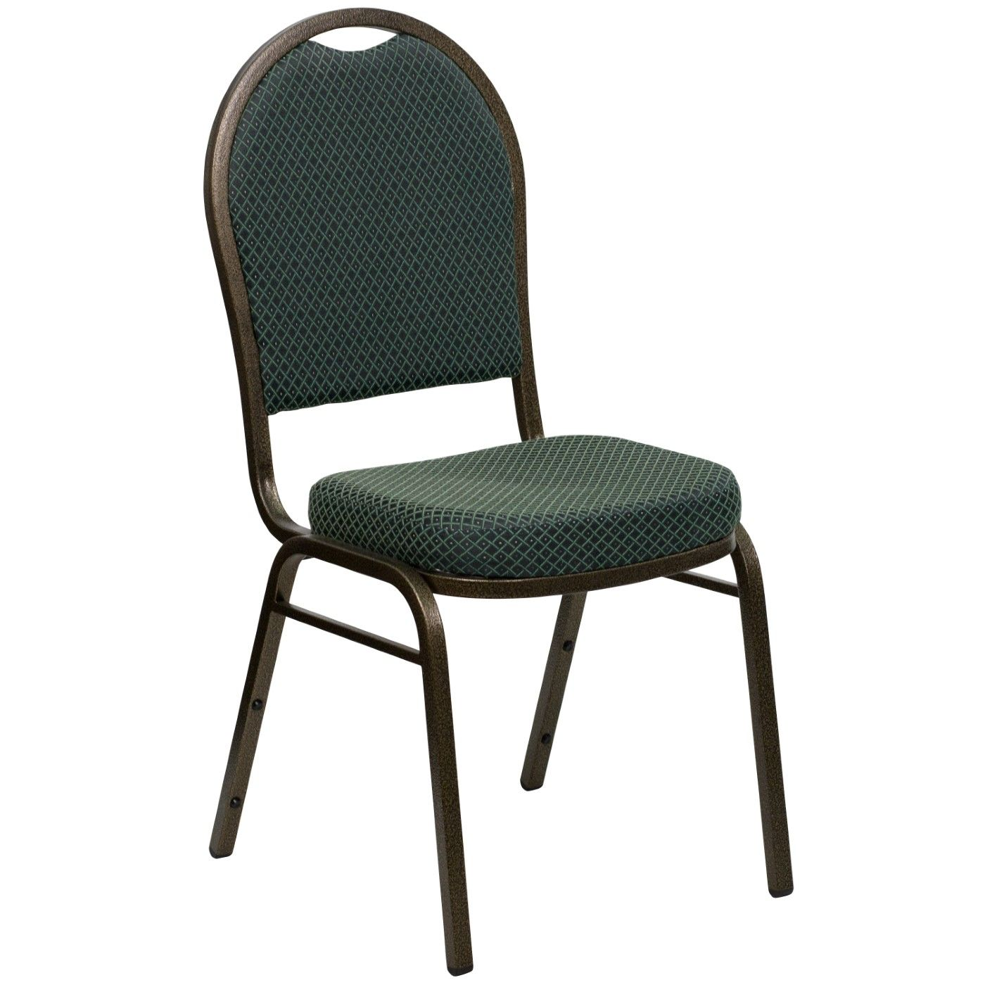 TOUGH ENOUGH Series Dome Back Stacking Banquet Chair in Green Patterned Fabric - Gold Vein Frame