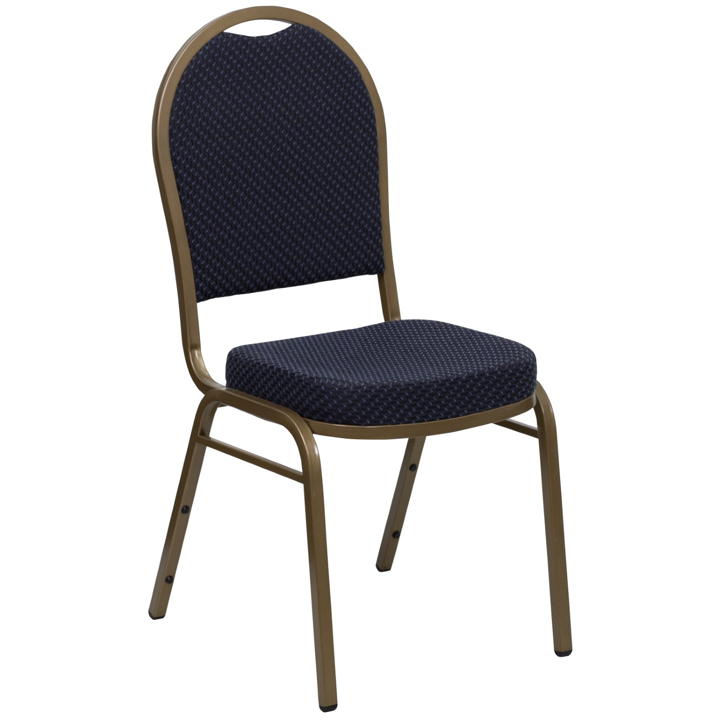 TOUGH ENOUGH Series Dome Back Stacking Banquet Chair in Navy Patterned Fabric - Gold Frame