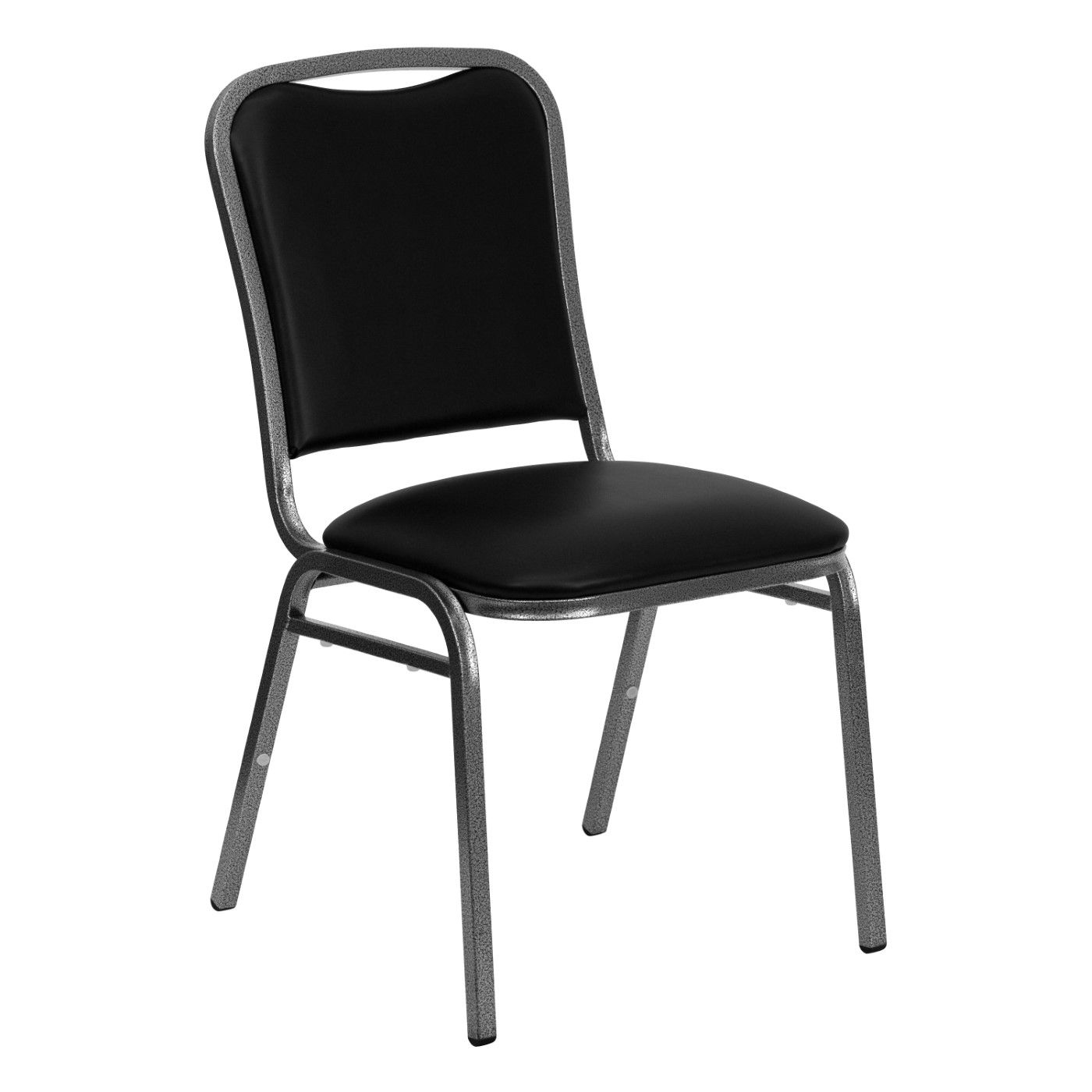 TOUGH ENOUGH Series Stacking Banquet Chair in Black Vinyl - Silver Vein Frame
