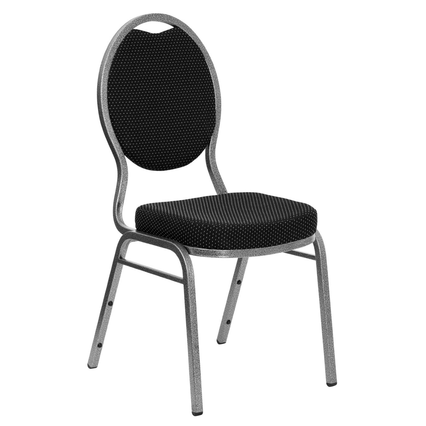 TOUGH ENOUGH Series Teardrop Back Stacking Banquet Chair in Black Patterned Fabric - Silver Vein Frame