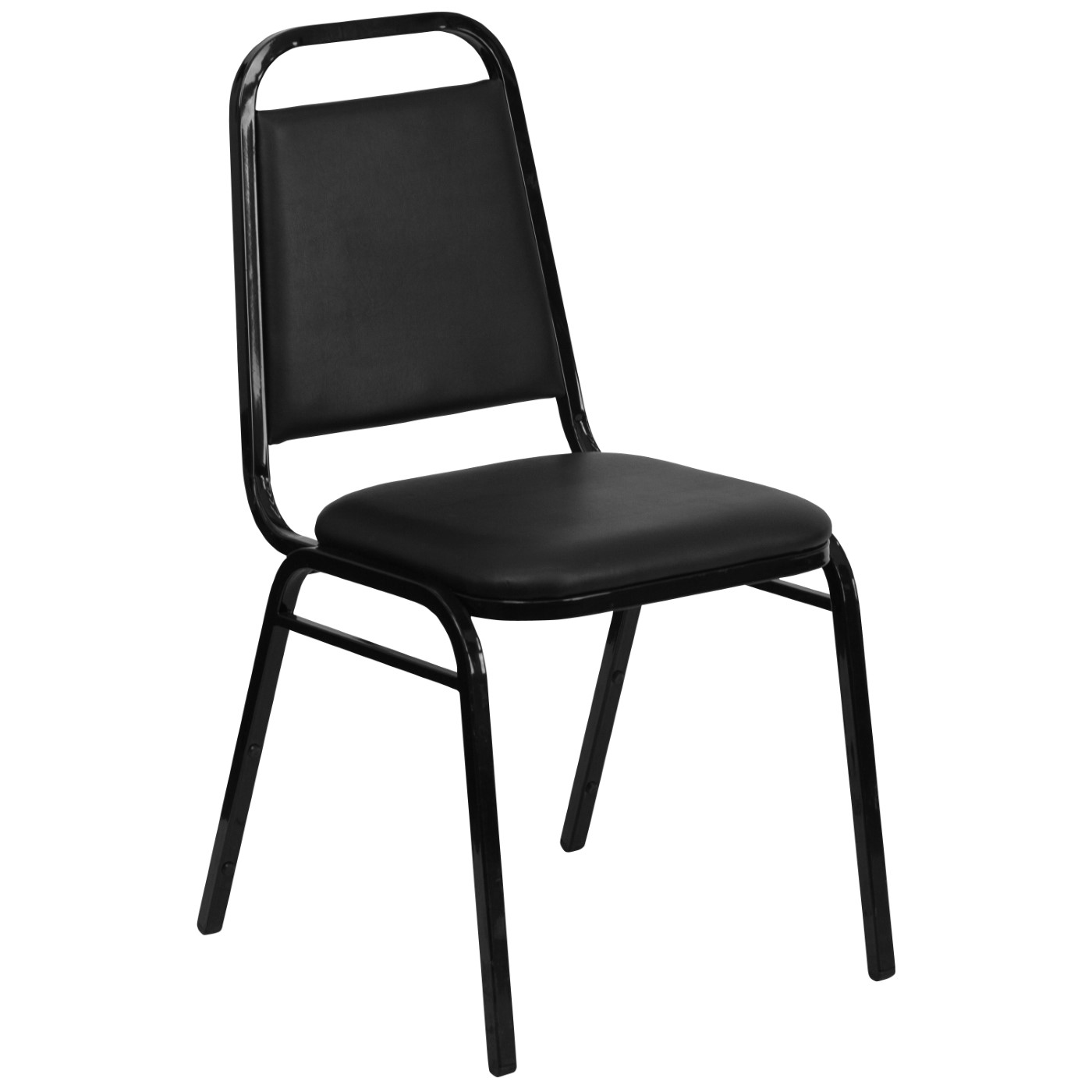 TOUGH ENOUGH Series Trapezoidal Back Stacking Banquet Chair in Black Vinyl - Black Frame