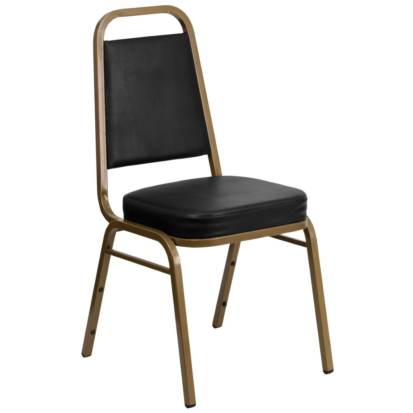 TOUGH ENOUGH Series Trapezoidal Back Stacking Banquet Chair in Black Vinyl - Gold Frame