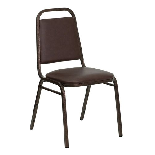 TOUGH ENOUGH Series Trapezoidal Back Stacking Banquet Chair in Brown Vinyl - Copper Vein Frame