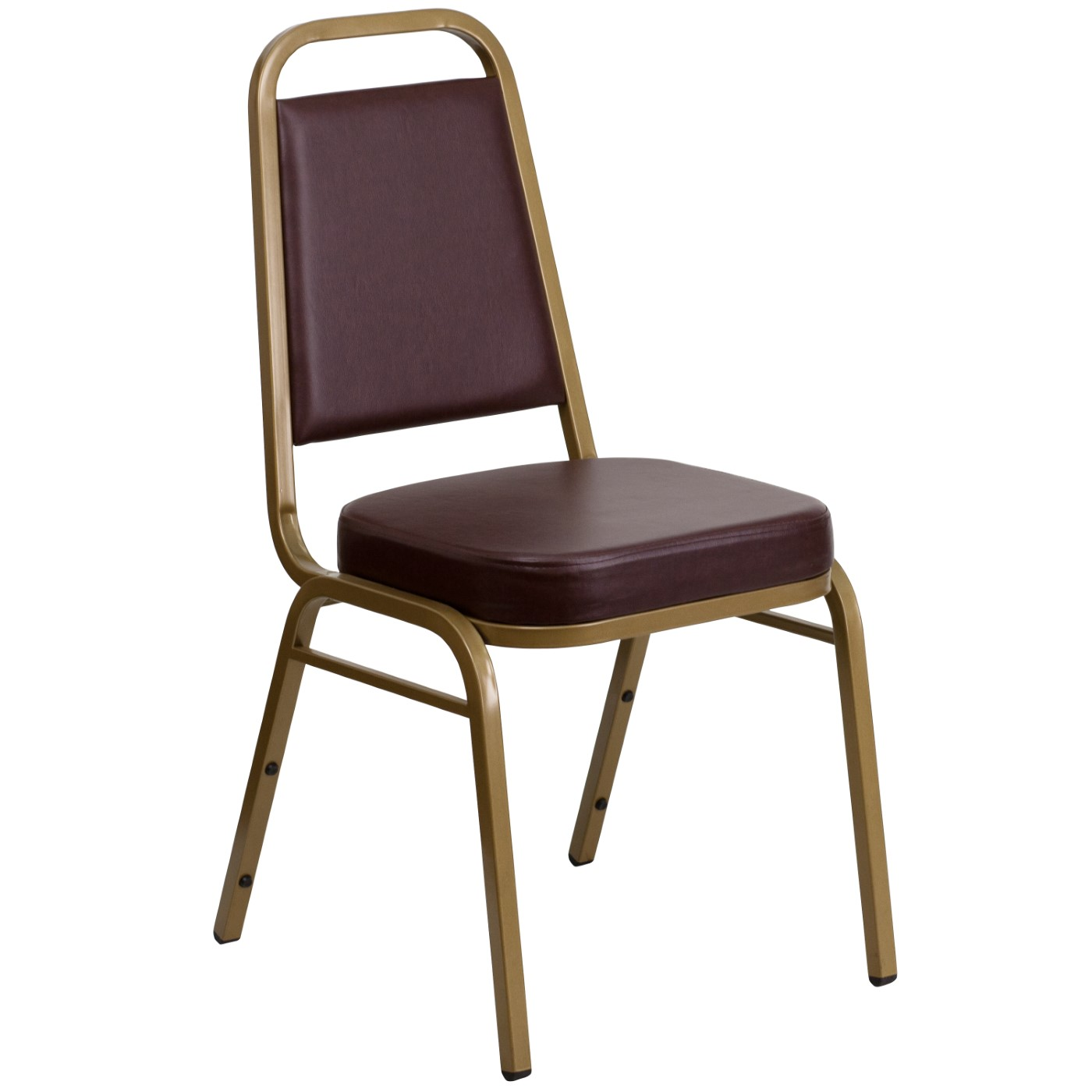 TOUGH ENOUGH Series Trapezoidal Back Stacking Banquet Chair in Brown Vinyl - Gold Frame