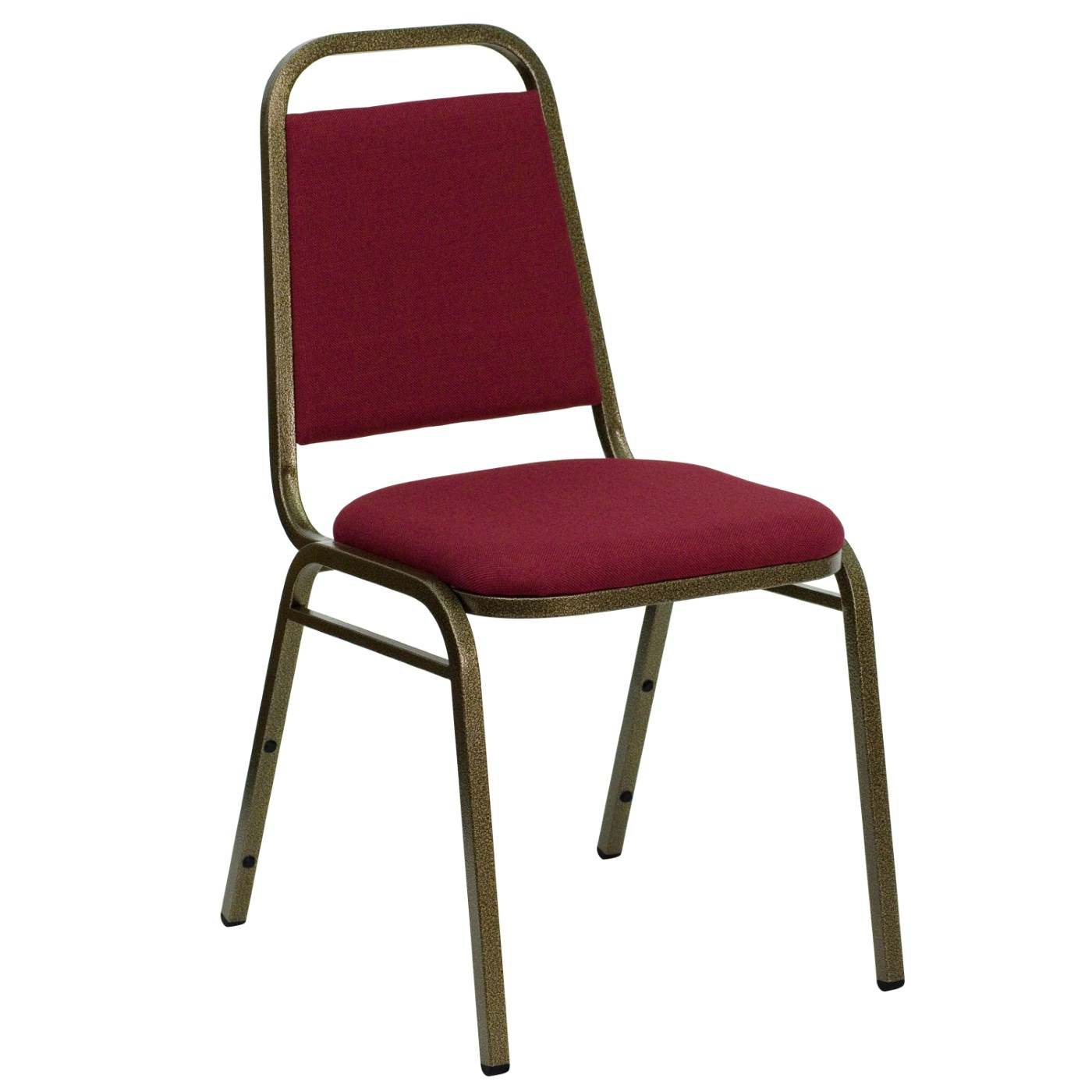 TOUGH ENOUGH Series Trapezoidal Back Stacking Banquet Chair in Burgundy Fabric - Gold Vein Frame