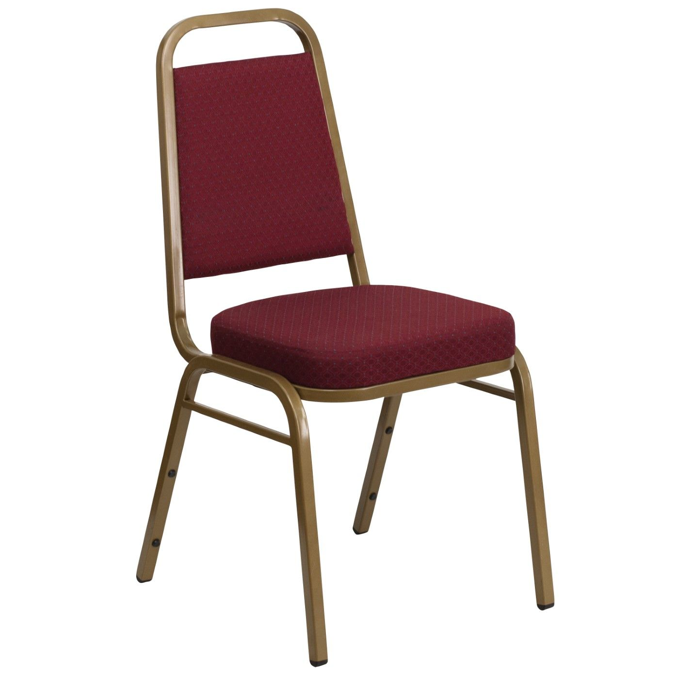 TOUGH ENOUGH Series Trapezoidal Back Stacking Banquet Chair in Burgundy Patterned Fabric - Gold Frame