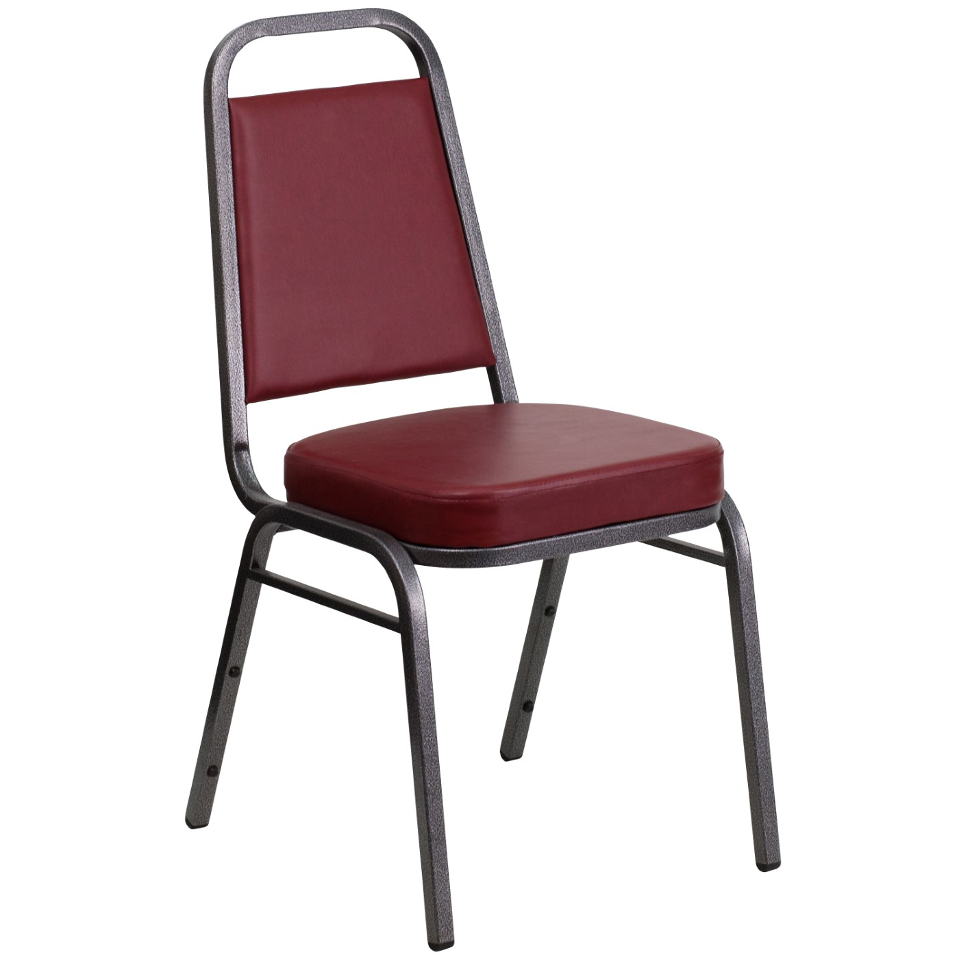 TOUGH ENOUGH Series Trapezoidal Back Stacking Banquet Chair in Burgundy Vinyl - Silver Vein Frame